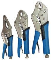 3pce HEAVU DUTY LOCKING LOCKABLE PLIERS GRIPS MOLE WRENCH SET